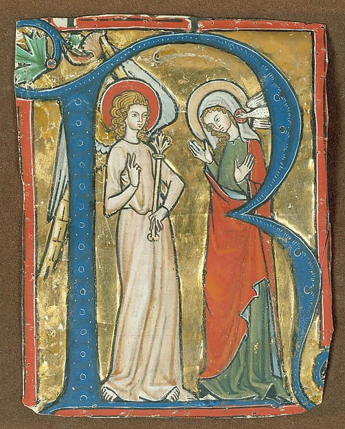 Initial R with the Annunciation, from a Gradual