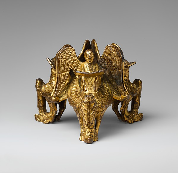 Base of an Altar Cross with Reading Angels Sitting on Dragons and Standing Church Fathers
