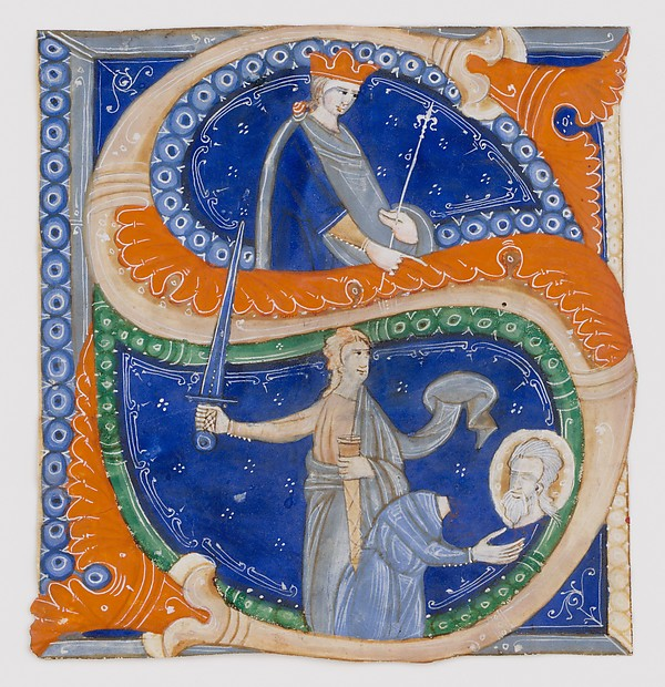 Manuscript Illumination with the Beheading of Saint Paul in an Initial S, from a Gradual