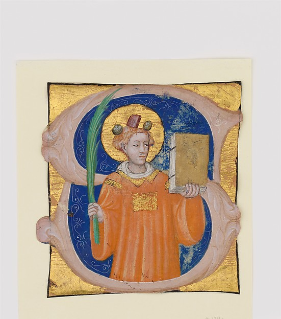 Manuscript Illumination with Saint Stephen in an Initial S, from an Antiphonary