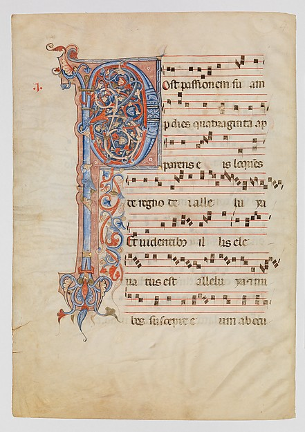 Manuscript Leaf with Foliated Initial P, from an Antiphonary
