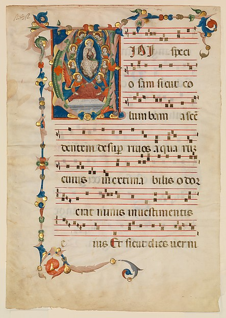 Manuscript Leaf with the Assumption of the Virgin in an Initial V, from an  Antiphonary
