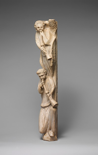 Pilaster of Angels Sounding Trumpets from the Parapet of a Pulpit