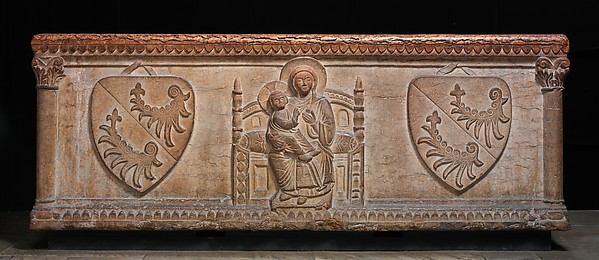 Sarcophagus with Virgin and Child and the Arms of the Sanguinaracci Family
