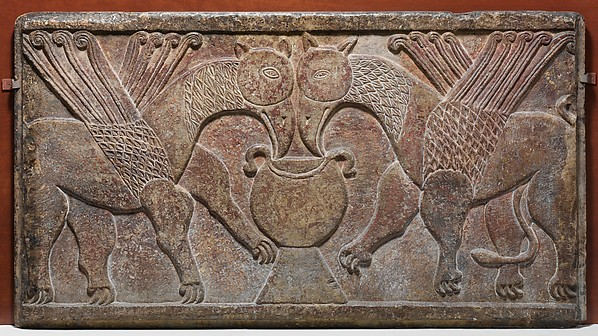Relief Panel with Two Griffins Drinking from a Cup
