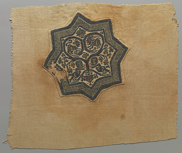 Textile Fragment with Inhabited Vine in an Eight-Pointed Star