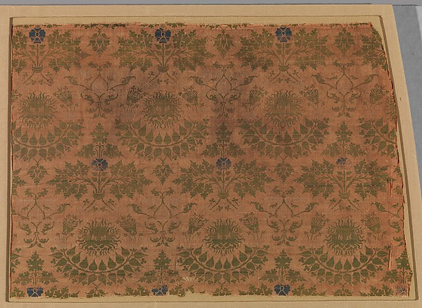 Textile with Lions' Heads, Foliate Ornament and Kufic Letter L
