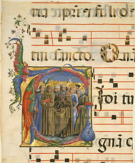 Manuscript Illumination with All Saints in an Initial V, from an Antiphonary