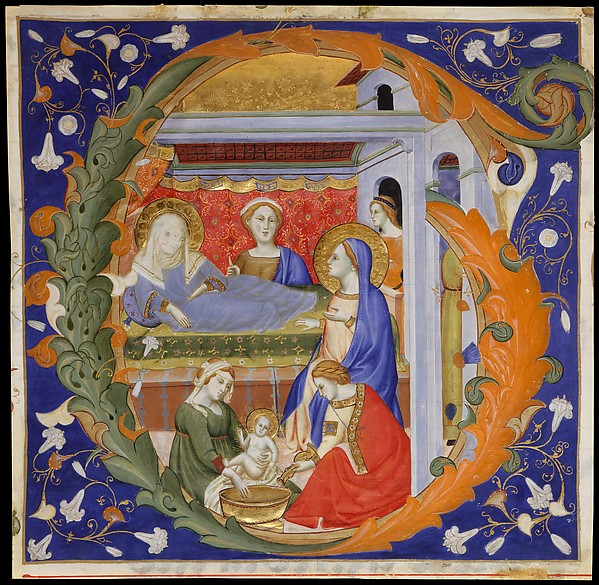 Manuscript Illumination with the Birth of the Virgin in an Initial G, from a Gradual