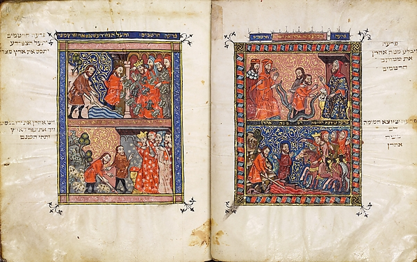 The Rylands Haggadah: The Miraculous Staff of Aaron and the Plague of Blood (right); The Plagues of Frogs and of Lice (left) [fols. 15v-16r]