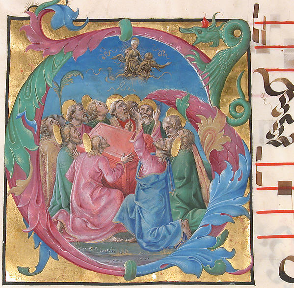 Manuscript Illumination with the Assumption of the Virgin in an Initial G, from a Gradual