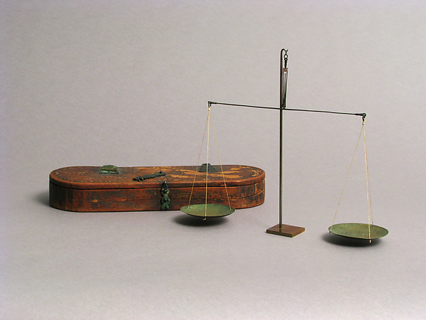Wooden Box with Bronze Balance Scale