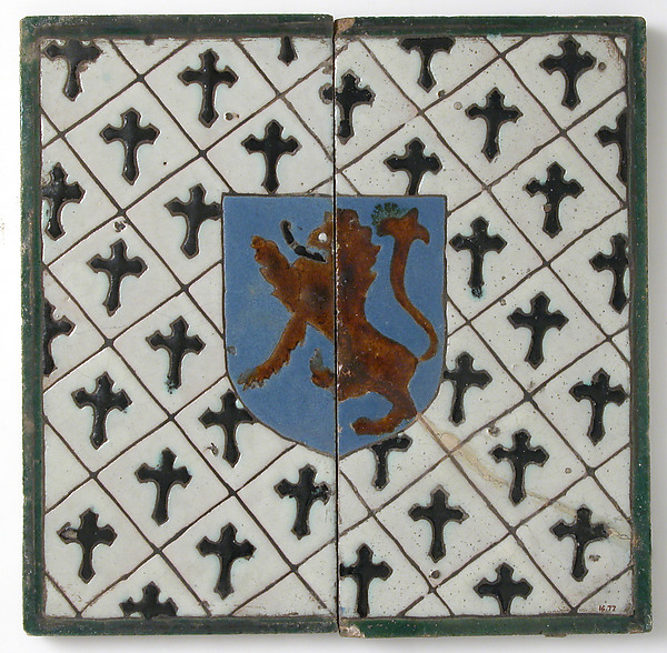 Tiles with a Lion on a Shield
