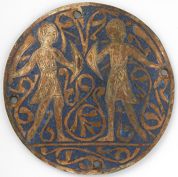 Medallion with Two Young Warriors with Falchions and Bucklers