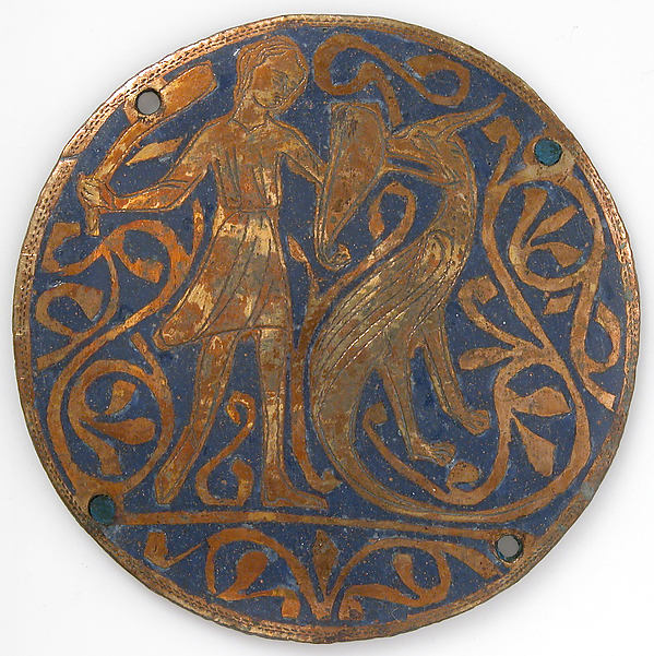 Medallion with Man Fighting Basilisk