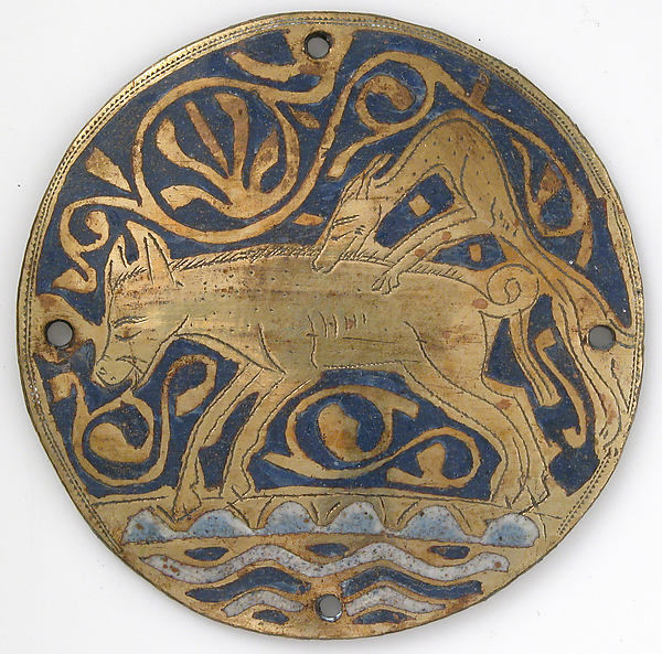 Medallion with Hunting Dog Attacking Boar Crossing Water