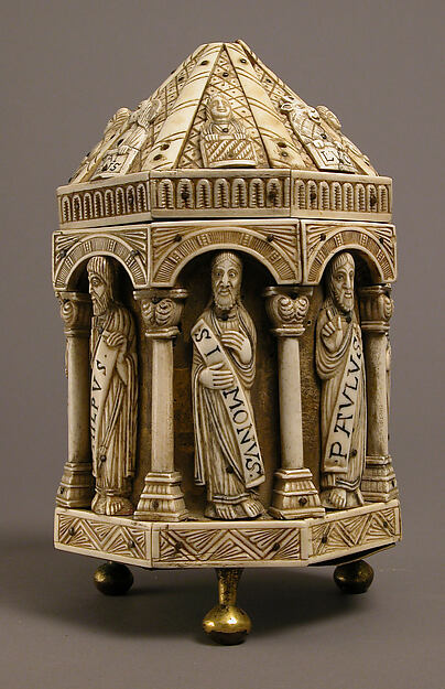 Tower Reliquary with Eight Apostles and the Symbols of the Four Evangelists