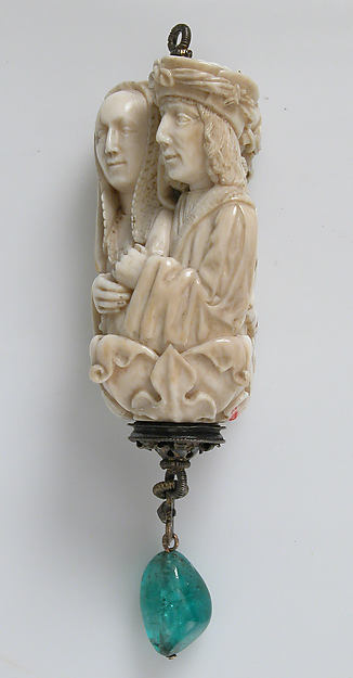 Rosary Terminal Bead with Lovers and Death's Head