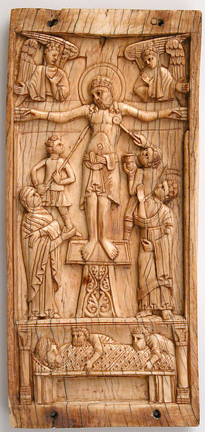 Center Panel of a Triptych with the Crucifixion and the Entombment