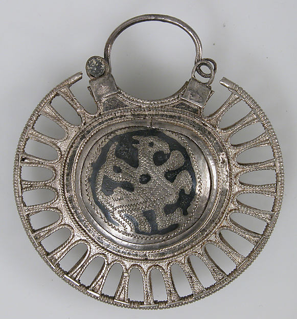 Temple Pendant with Filigree Border