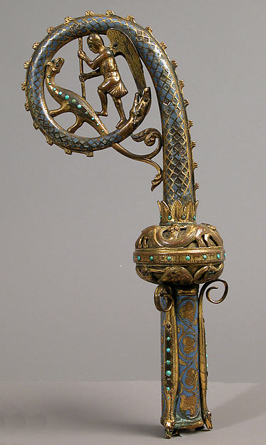 Head of a Crozier with Saint Michael Slaying the Dragon