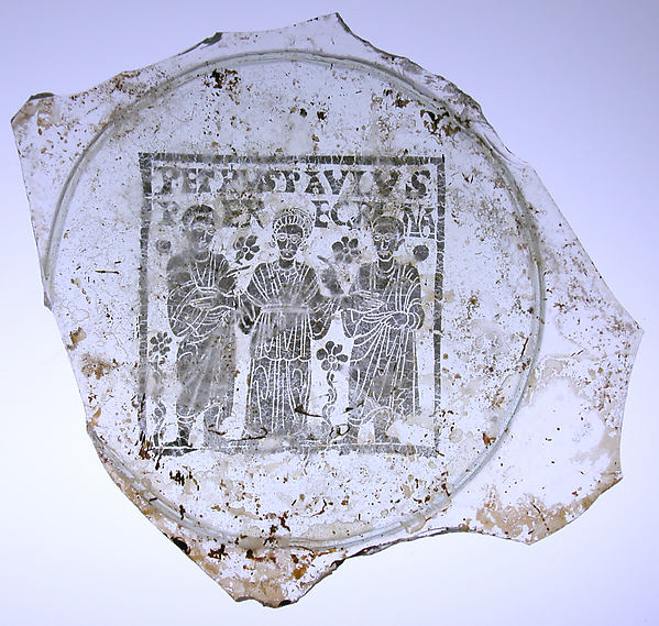 Plate Base with Peregrina between Saints Peter and Paul