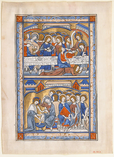 Manuscript Leaf with the Last Supper and the Washing of the Apostles' Feet Leaf, from a Royal Psalter