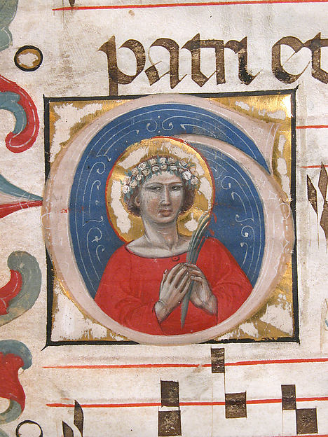 A Female Saint (Possibly Dorothy) in an Initial G