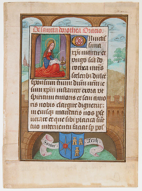 Manuscript Leaf wtih Saint Dorothy, from a Book of Hours