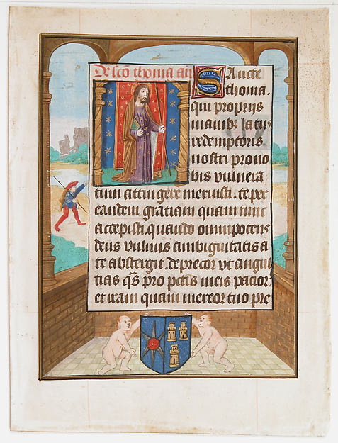 Manuscript Leaf with Saint Thomas, from a Book of Hours
