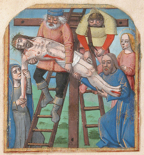Manuscript Illumination with the Descent from the Cross, from a Book of Hours
