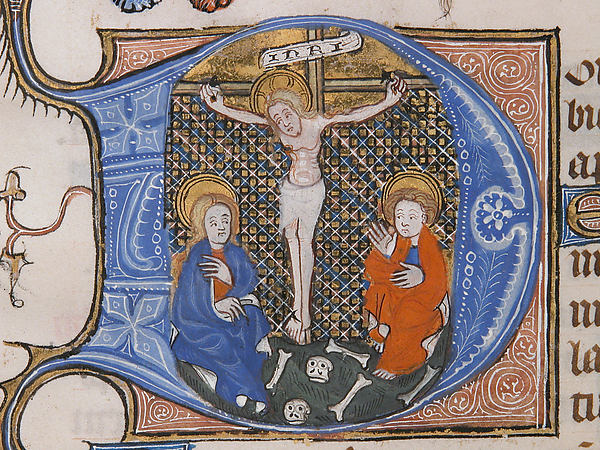 Manuscript Leaf with the Crucifixion in an Initial D, from a Book of Hours