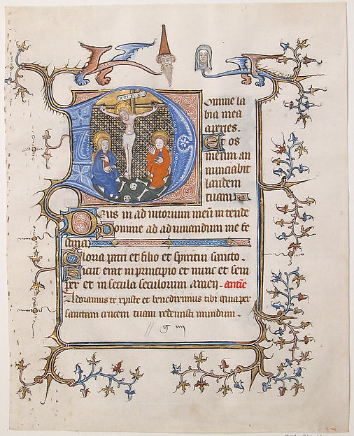 Initial D with the Crucifixion From a Book of Hours
