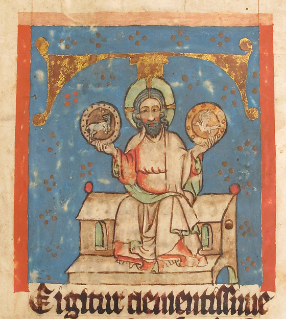 Manuscript Leaf with the Holy Trinity in an Initial T, from a Missal