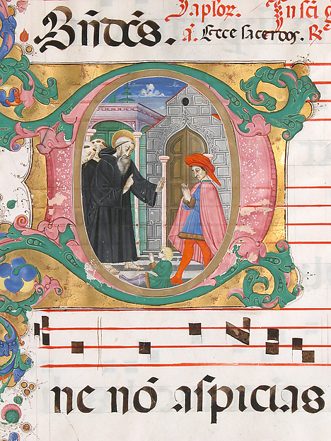 Manuscript Leaf with Saint Benedict Resuscitating a Boy in an Initial D, from an Antiphonary