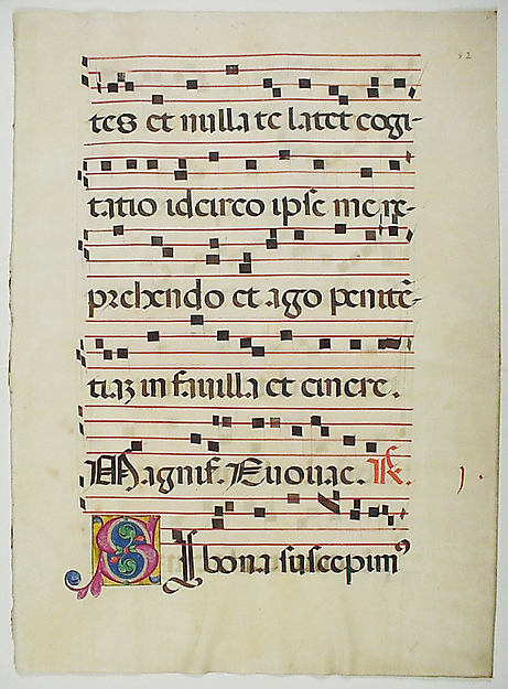 Manuscript Leaf with Initial S, from a Choir Book