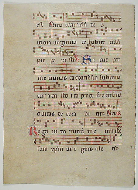 Bifolium with Initial L, from an Antiphonary