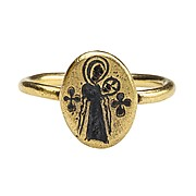 Byzantine Niello Ring of Virgin and Child