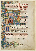Manuscript Leaf with a Funeral Procession in an Initial R, from a Gradual