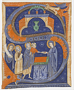 Manuscript Illumination with the Presentation of Christ in the Temple in an Initial S, from a Gradual