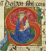 Manuscript Illumination with the Virgin and Child in an Initial S, from an Antiphonary