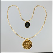 Necklace with Gold Marriage Medallion and Hematite Amulet