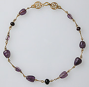 Gold Necklace with Amethysts, Glass Beads, and a Pearl