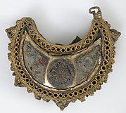 One of a Pair of Crescent-Shaped Earrings with Rosettes