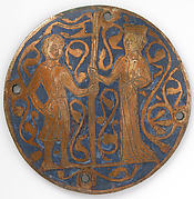 Medallion with man and woman holding standard