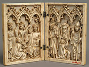 Diptych with the Adoration of the Magi (left); Saint Christopher, Vera Icon (True Image) of Christ Held up by an Angel, and Bishop-Saint (right)