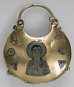 One of a Pair of Temple Pendants, with Busts of Male Saints Holding Martyr&amp;#39;s Cross (front) and Leaf and Rosette Motifs (back)