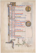 Manuscript Leaf with June Calendar, from a Royal Psalter