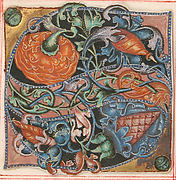 Manuscript Illumination with Initial S, from a Choir Book