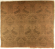 Textile Fragment with Recumbent Harts, Eagles, Clouds, and Sunrays